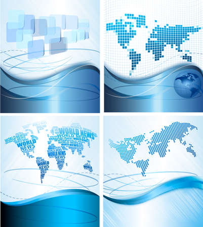 Four Business abstract backgrounds with world map. Vector illustration.  Vector
