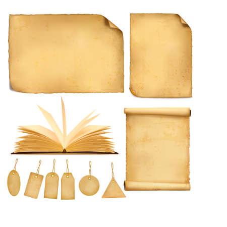 Set di fogli di carta vecchi. Illustrazione vettoriale.