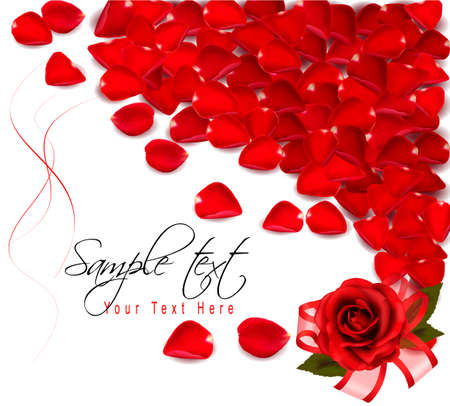 Background of red rose petals. Vector  Vector