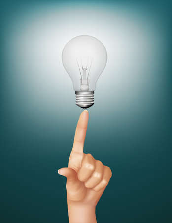 brightly lit: Finger touching brightly lit light bulb. Concept of idea. Vector. Illustration