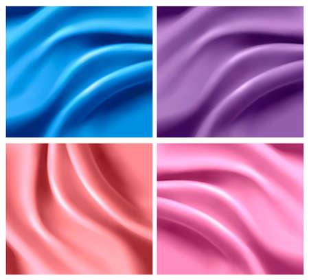 Set of colorful silk backgrounds. Vector illustration.