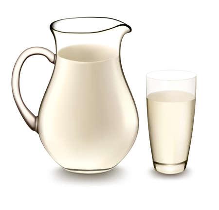 ミルク水差し、牛乳のガラス。ベクトル イラスト。
