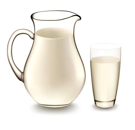 jars: Milk jug and glass of milk. Vector illustration.