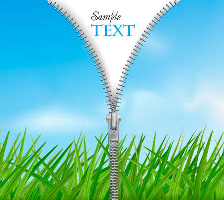 Sky with grass background with zipper. Vector.  Vector