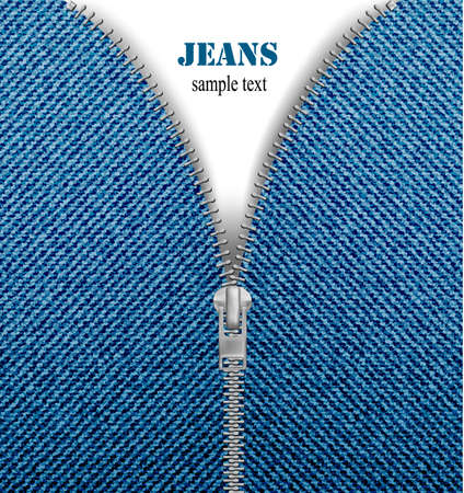 Closeup of zipper in blue jeans background. Vector.  Vector