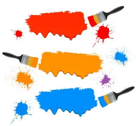 버킷: 브러시 및 페인트 배너를 페인트. 벡터 일러스트 레이 션. 일러스트