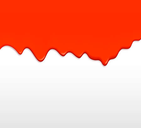 Red paint dripping from a wall. Vector. Vector