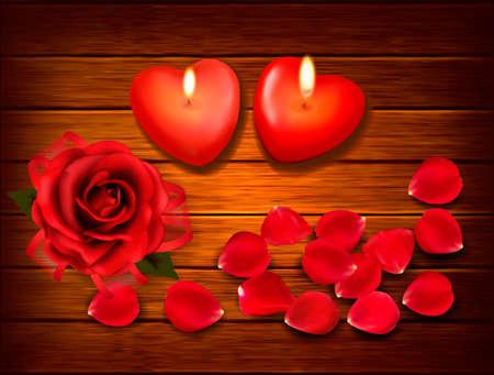 Valentine `s Tag Hintergrund. Rote Rosen und zwei Herzen Kerzen auf hölzernen Hintergrund. Vector.