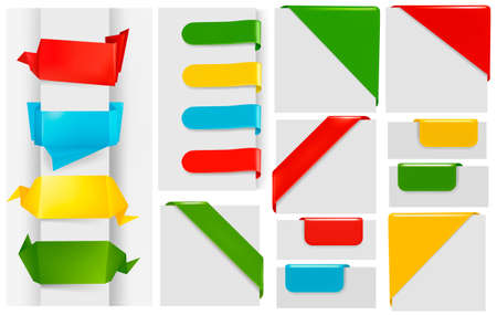 Huge set of colorful origami paper banners and stickers. Vector illustration. Vector