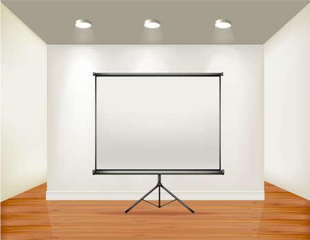 board room: Marco vac�o en la pared con puntos de luz y el fondo de madera. Ilustraci�n vectorial