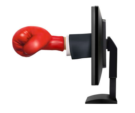 criminal activity: Monitor with the attacking arm with boxing gloves from the display
