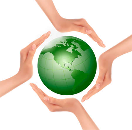 hands holding globe: Hands holding a green earth  Vector  Illustration