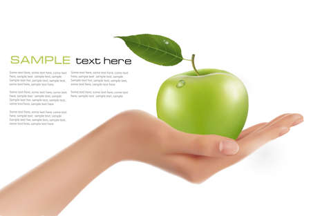 nutrition and health: Green ripe apple in a hand  Vector  Illustration