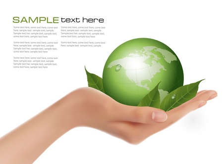earth color: Human hand holding green globe with leaves  Vector  Illustration