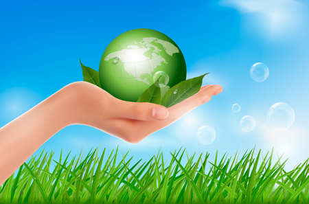 mani terra: Mano umana con globo verde con foglie vettore Vettoriali