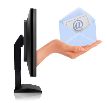 Hand from a monitor screen holding e-mail letter  Vector  Stock Vector - 12346042