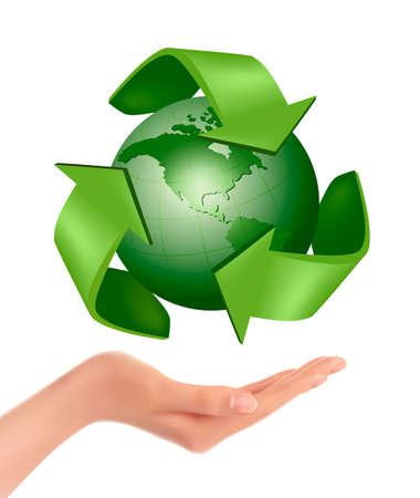 peace on earth: Hands holding a green earth  Vector  Illustration