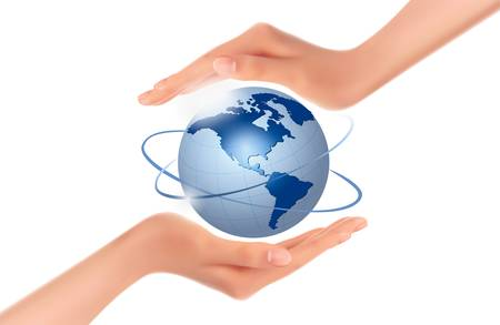 hands holding globe: Hands holding globe  Vector