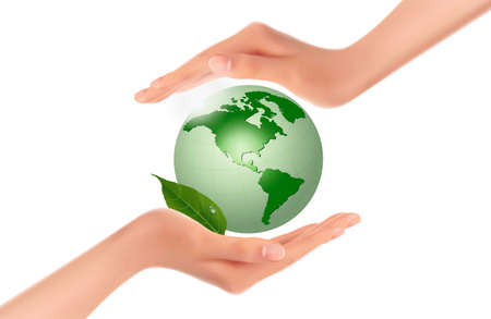 hands holding globe: Hands holding green globe with leaves  Vector  Illustration