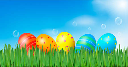 plain background: Easter background  Easter eggs laying in green grass under blue sky  Vector  Illustration