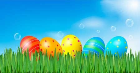 Pasen achtergrond Pasen eieren leggen in het groene gras onder de blauwe hemel Vector