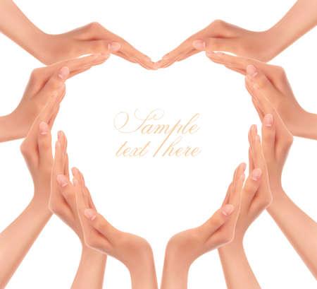 hacer el amor: Manos que hacen un ejemplo del vector del corazón