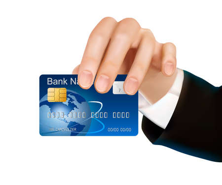 Credit card with chip in woman s hand  Vector illustration  Vector
