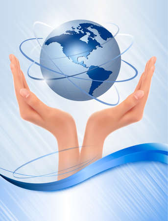 save the planet: Background with hands holding globe  Vector