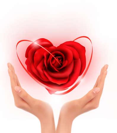 celebrate life: Amor concepto de la celebraci�n de un coraz�n rojo en las manos