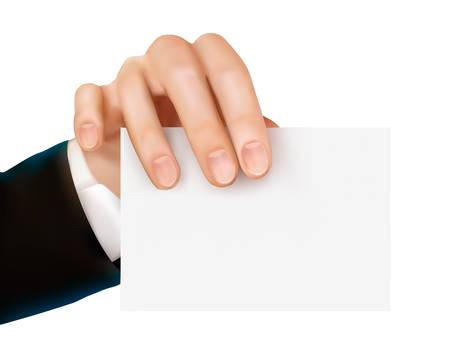 cut away: Paper card in hand  Vector illustration  Illustration