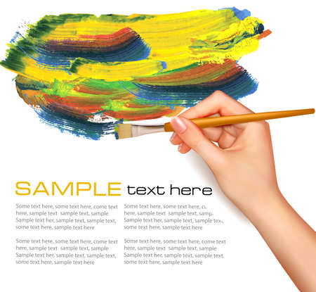 painting style: Abstract watercolor background with hand  Vector illustration  Illustration