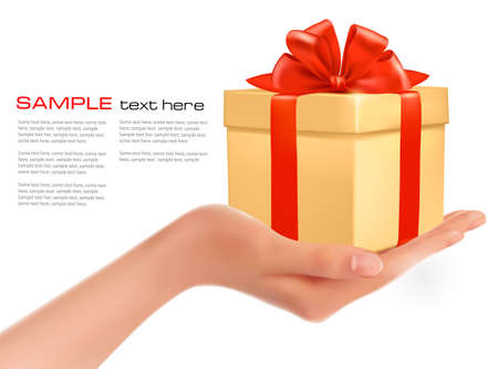 giving gift: Gift box in hand with red bow and ribbons  vector