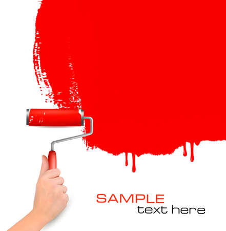 redecorate: Hand with red roller painting the white wall  Background vector