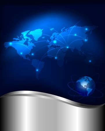 global networking: Tecnolog�a de concepto abstracto de fondo de la ilustraci�n vectorial de conexi�n de red