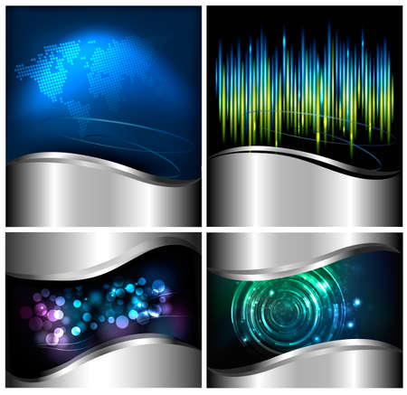 Collection of abstract technology and business backgrounds  Vector illustration  Vector