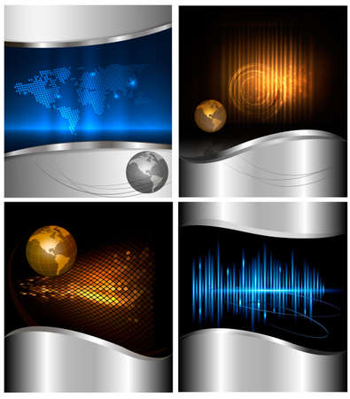 Big set of abstract technology and business backgrounds  Vector illustration  Vector