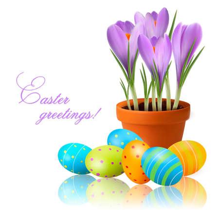 vector eggs: Fresh spring flowers with Easter eggs  Vector illustration