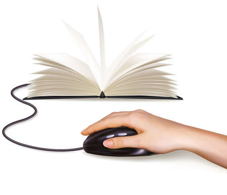 digital book: Hand with computer mouse and books  Vector illustration