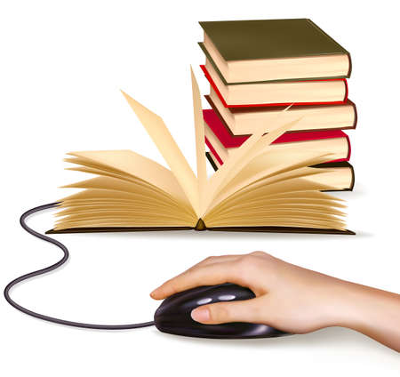 e book: Hand with computer mouse and books  Vector illustration