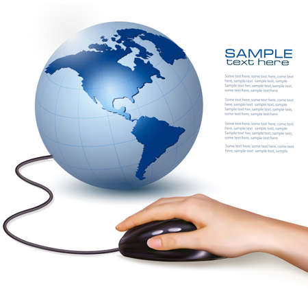 computer education: Hand with computer mouse and globe  Vector illustration