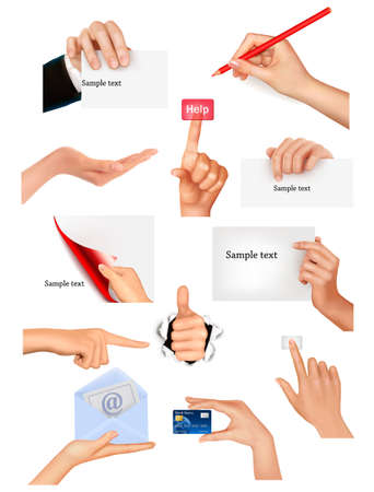 Set of hands holding different business objects  Vector illustration Stock Vector - 12595599