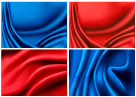 satiny cloth: Set of elegant colorful silk backgrounds  Vector illustration