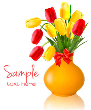 Spring flowers in a vase with a red bow and ribbons  Easter vector background  Illustration