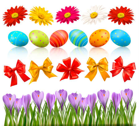Big Easter set with traditional eggs flowers and bow and ribbons  Vector