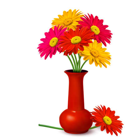gerber flowers: Bunch of flowers in a vase  Vector