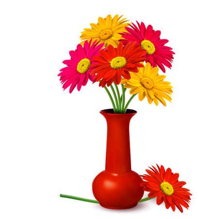 florero: Ramo de flores en el jarr�n de un vector