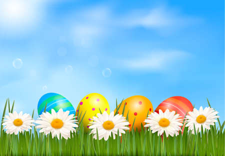 Easter background  Easter eggs laying in green grass with daisy under blue sky  Vector