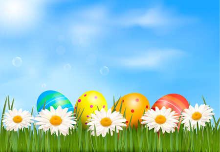 Pasen achtergrond Pasen eieren leggen in groen gras met daisy onder blauwe hemel Vector Vector Illustratie