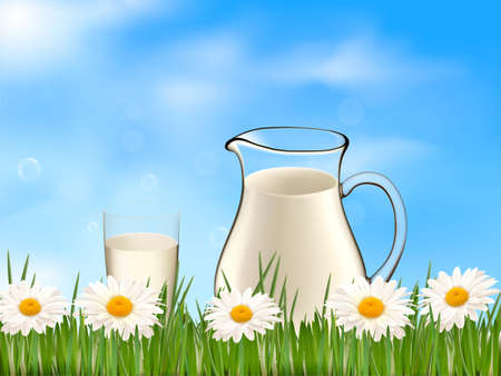 Glass of milk and jar on the on a background with daisy  Vector illusionist