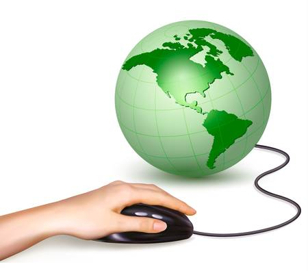international recycle symbol: Hand with computer mouse and green globe  Vector illustration